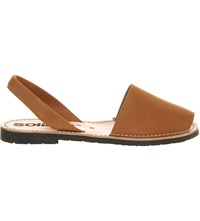 Solillas Cuero Nubuck Leather Peep Toe Sandals Tan Leather
