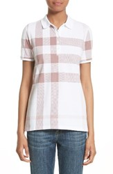 Burberry Women's Isna Check Stretch Cotton Pique Polo