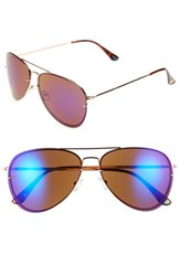 Women's Vince Camuto 60Mm Aviator Sunglasses Rose Gold Blue Mirror