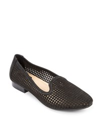 Me Too Yale Round Toe Perforated Loafers Black Suede