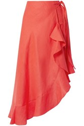 Miguelina Liviona Ruffled Linen Wrap Skirt Tomato Red
