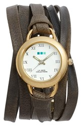 La Mer 'S Collections Slate Saturn Leather Strap Wrap Watch 25Mm Grey White Gold