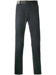 Closed Fitted Tailored Trousers Elastodiene Acetate Wool Grey