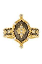 Freida Rothman 14K Gold Plated Sterling Silver Cz Hammered New Star Ring Black
