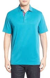 Bugatchi Men's Short Sleeve Polo Teal