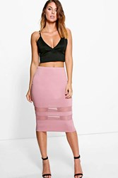 Boohoo Mesh Panel Midi Skirt Rose