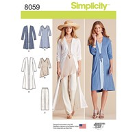 Simplicity Women's Cardigan And Dress Sewing Pattern 8059