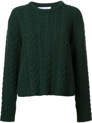 Ryan Roche Cable Knit Cropped Jumper Green
