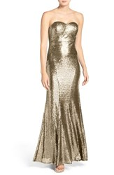 Lulus Women's Strapless Sequin Mermaid Gown Rose Gold