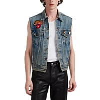 Madeworn Rolling Stones Distressed Denim Trucker Vest Blue