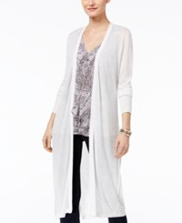 Thalia Sodi Open Front Duster Cardigan Only At Macy's White Lurex