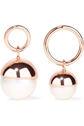 Ryan Storer Rose Gold Plated Faux Pearl Earrings Rose Gold White