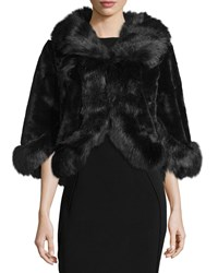Neiman Marcus Faux Fur Fluff Trim Jacket Black