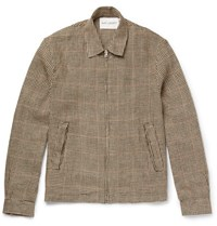 Our Legacy Houndstooth Linen Tweed Blouson Jacket Brown