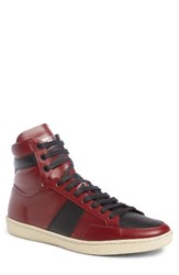 Saint Laurent Men's Sl 10H Signature Court Classic High Top Sneaker Dark Red Black Leather
