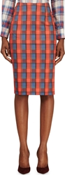 Altuzarra Red And Blue Plaid Djinn Pencil Skirt