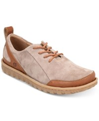 Born Piper Leather Oxfords Shoes Grey Bronze