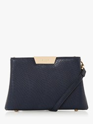 Dune Eleah Reptile Print Clutch Bag Navy