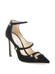 Jimmy Choo Strappy Velvet And Patent Leather Point Toe Pumps Black