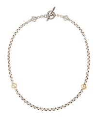 Konstantino Classic Sterling Silver And 18K Gold Clover Chain Necklace Yellow