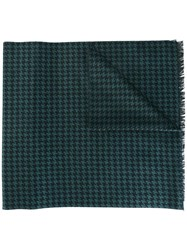 Canali Houndstooth Pattern Scarf Grey