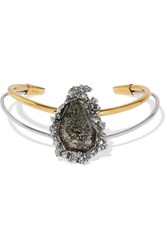 Alexander Mcqueen Gold And Silver Tone Stone Choker One Size