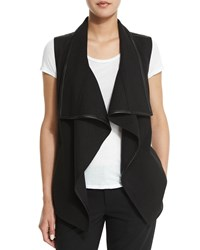 Vince Drape Collar Vest With Leather Trim Winter White