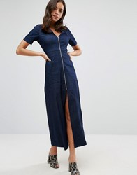 Liquorish Denim A Line Zip Front Maxi Dress Blue