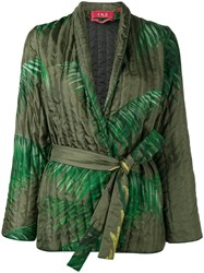 F.R.S For Restless Sleepers Palm Leaf Print Kimono Jacket Green