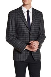 Ike Behar Olive Plaid Double Button Notched Lapel Jacket Green