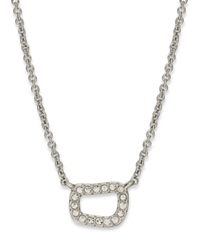 Eliot Danori Necklace Rhodium Plated Pave Crystal Pendant Necklace