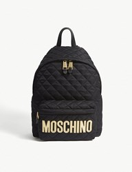Moschino Logo Quilted Nylon Backpack Blk Gold