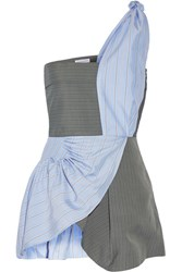 J.W.Anderson One Shoulder Striped Crepe And Silk Twill Peplum Top Blue