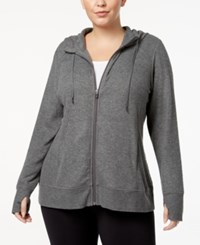 Ideology Plus Size Zip Hoodie Created For Macy's Dark Pewter Heather
