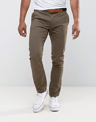 Selected Homme Slim Fit Chinos With Belt Stone