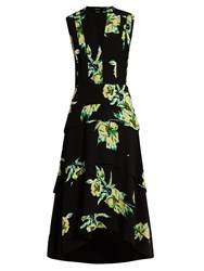 Proenza Schouler Lily Print Dip Hem Silk Crepe Dress Black Green
