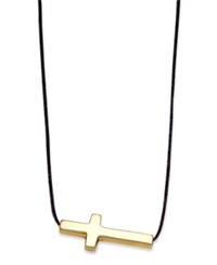 Macy's 10K Gold Necklace Black Sideways Cross Pendant On Black Nylon Cord