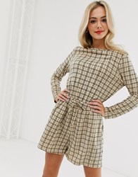 Daisy Street Playsuit With Tie Waist In Vintage Check Beige