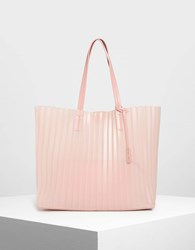 Charles And Keith Translucent Landscape Tote Bag Pink