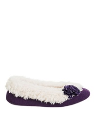Isotoner Signature Holiday Sherpa Lined Knit Ballerina Slippers Deep Purple