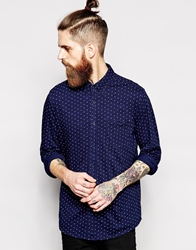 Asos Jersey Shirt In Long Sleeve With Polka Dot Print Blue