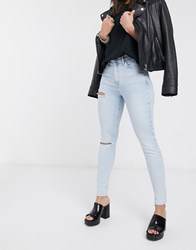Topshop Ripped Jamie Jeans In Super Bleach Wash Blue