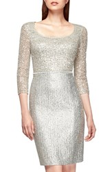 Women's Kay Unger Sequin Lace And Metallic Tweed Sheath Dress