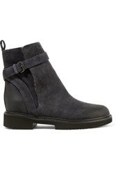 Vince Claudia Shearling Lined Suede Ankle Boots Dark Gray