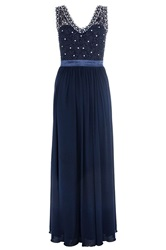 Quiz Navy Lace And Diamante V Neck Maxi Dress