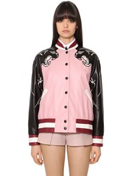 Valentino Nappa Leather Bomber Jacket W Panther