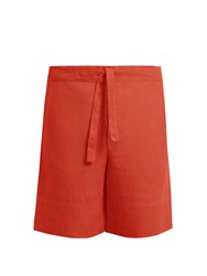 Hecho Drawstring Waist Linen Shorts Red