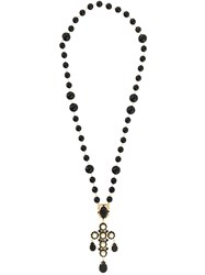 Dolce And Gabbana Beaded Crystal Lariat Necklace Black