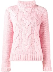 Ganni Cable Knit Jumper Pink And Purple