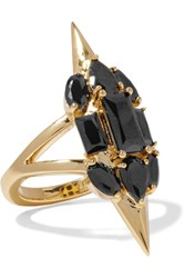 Noir Jewelry Sharp Edges Gold Plated Crystal Ring 7